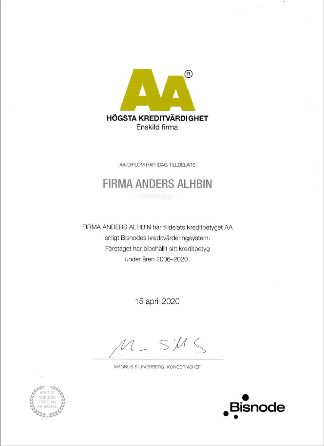 Högsta kreditvärdighet 2020 - Firma Anders Alhbin